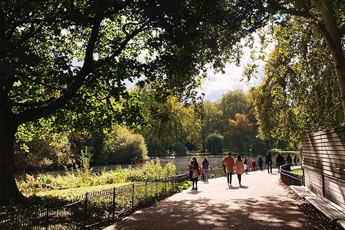 St James Park - office workers out for a stroll